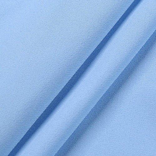 feiXIANG Donna T-shirt - Camicetta - Camicia Moda Le signore Estate Superiore Manica corta Casuale Top Maglietta Camicetta Poliestere Blu