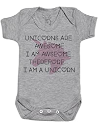 Unicorns Are Awesome I Am Awesome regalo para bebé, body para bebé niño, body para bebé niña - Gris