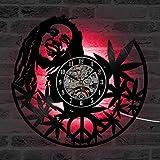 YNMB KS Ronde Quartz Creux Bob Marley CD Creative Horloge Murale décorative de Style Ancien Réveil LED Horloge Disque Vinyle Décoration Chambre