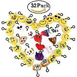 Cusfull Mini Emoji Llavero Emoji encantadora almohada almohadillas Emoticon Llavero Soft Party Bag regalo de relleno de juguete para los niños (32pcs)