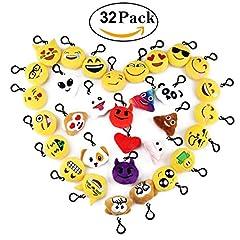 Idea Regalo - Cusfull Mini Emoji Portachiavi pezzi /Portachiavi Decorazioni/Portachiavi Emoji Faccine Portachiavi Emoticon Più Usate su Whatsapp Ideale come Decorazione per Personalizzare Zaino, Borsa, Borsoni da Palestra ect. - Perfetto Regalo / Pensiero Regalo per Bambini,Per il giorno dei bambini, Natale, compleanni(32pcs)