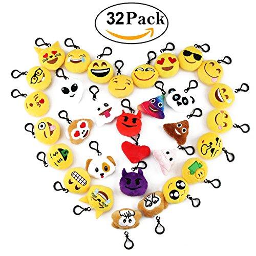 Cusfull 32er Pack Mini Nett Emoji Plüsch Schlüsselanhänger Tasche Anhänger Schlüsselkette Schlüsselring verschiedene Gesichter Partytüten Spielzeug Geschenk für Kinder
