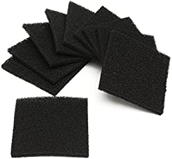 HITSAN INCORPORATION 10pcs Black Square Activated Carbon Foam Sponge Air Filter Pads Set For Smoke Absorber