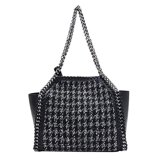 PACO TORA Handtasche Damen PU Leder Tote Bag Tweed Umhängetasche Plaid Kette Tasche - Classic Collection -