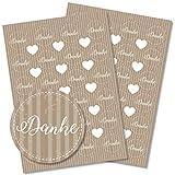 Partycards 48 Aufkleber/Sticker Danke rund für Hochzeit, Geburtstag, Weihnachten oder weitere Anlässe (Danke braun)