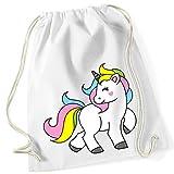 Jolie kindertasche avec licorne cheval/Sweet Unicorn Bag/100% coton sac de gym avec inscription et motif/uni Size, Onesize, unisexe/sac cadeau idéal/Sac à dos Sac, jute choulgan-tach, jute/Hipster Fashion/vanverden, White (Weiß)