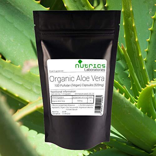 Aloe Vera 100 Kapseln (Nutrics® ORGANISCH ALOE VERA 520mg 100 Vegane Kapseln Darmreinigung Gewichtsverl | Vegane Vegetarier Halal Koscher | Hergestellt in Großbritannien von Nutrics Laboratories)