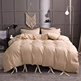 DOLPHIN's TEXTILE 3pcs Duvet Cover Set solide Farbe hypoallergene Plain Brushed Bedding Set Microfiber Plain reversisible Beding Kollektion,Beige,twin135x200cm