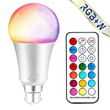 iLC Colour Changing Light Bulb Dimmable 10W B22 Bayonet RGBW LED Light Bulbs [2nd Generation] Coloured Lights, Mood Light RGB White - Dual Memory - 12 Color Choices - Remote Controller Included for Home/Decoration/Bar/Party/KTV Mood Ambiance Lighting