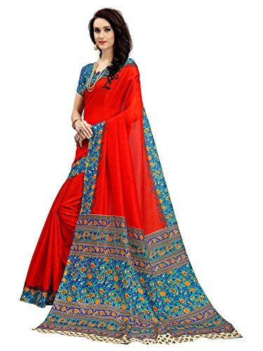 Indian Beauty Khadi Saree With Blouse Piece (Small-Flower-Red_Red_Free Size)