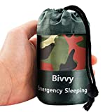 Cosparty Emergency Sleeping Bags Camouflage Survival Bivy Sack with Portable Drawstring Bag