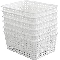 Hokky Lot de 6 Panier Rangement Plastique Blanc, Petit Panier Osier Panier Tresse, Panier Plastique Rectangulaire