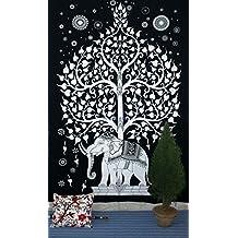 Good Luck Indian Hippie indio, diseño de flores tapices de pared, diseño indio Hippie Tapices de pared, diseño de Mandala decoración pared colgante de diseño indien-indienne Dortoir couvre decoración de pared para colgar, diseño de flores, 55x 85cm