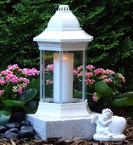 ♥ Grabschmuck Set Grablampe Weiss 30,0cm mit