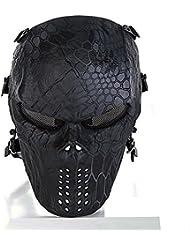 cqjdg exterior Full Face–Máscara Calavera Esqueleto Máscara para pistola de airsoft/Bb/Cs Juego y fiesta, Black-god