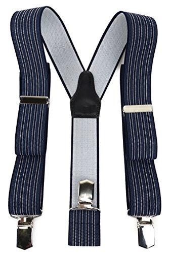 nträger in Y-Form mit 3 extra starken Clips - Farbe in marine dunkelblau blau silber gestreift - hochwertige Verarbeitung - Breite 35 mm ()