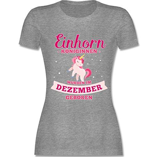 Shirtracer Geburtstag - Einhorn Königinnen Wurden IM Dezember Geboren - Damen T-Shirt Rundhals Grau Meliert