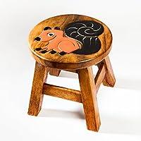 Robuster Kinderhocker/Kinderstuhl massiv aus Holz mit Tiermotiv Eichhörnchen, 25 cm Sitzhöhe preisvergleich bei kinderzimmerdekopreise.eu
