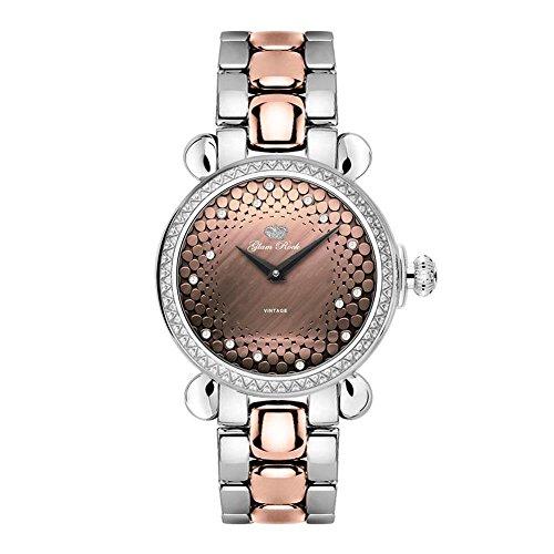 Glam Rock Women's Vintage Diamond 34mm Two Tone Steel Bracelet Swiss Quartz Analog Watch GR28059DS
