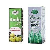 Krishna's Herbal & Ayurveda Amla Juice - 500 ml with Wheat Grass Juice - 500 ml