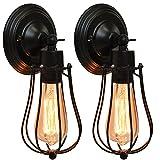 COSTWAY 2er Set Antik Vintage Retro Wandleuchte Lampe Industrielampe Außenwandleuchte Wandlampe Treppenlampe Badlampe Flurlampe Pendellampe mit Vogelkäfig-Lampeschirm verstellbar E27 / 40W Glühbirne