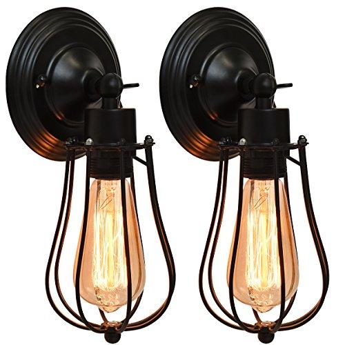 COSTWAY 2er Set Antik Vintage Retro Wandleuchte Lampe Industrielampe Außenwandleuchte Wandlampe Treppenlampe Badlampe Flurlampe Pendellampe mit Vogelkäfig-Lampeschirm verstellbar E27/40W Glühbirne