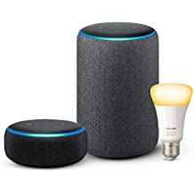 Echo Plus (2nd Gen - Black) bundle with Echo Dot (3rd Gen - Black) and Philips Hue 9.5W Smart Bulb