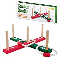 Parkland® Wooden Garden Indoor Outdoor Quoits Family Pegs And Rope Hoopla Game