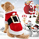 Idepet Santa Dog Costume Natale Cotone Pet Abbigliamento Inverno Cappotto con cappuccio Cappotto Abbigliamento per cane Pet Abbigliamento Chihuahua Yorkshire Poodle XS