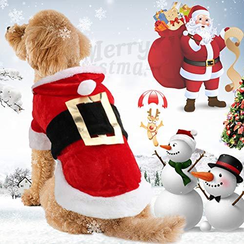 (Idepet Weihnachtsmann-Hunde-Kostüm aus Baumwolle - Haustier-Kleidung für den Winter - Kapuzenpulli/Mantel für Hunde (Chihuahua/Yorkshire/Pudel))