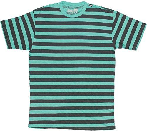 Neff Herren-Streifen und Rund Slub T-Shirt Teal/Heather