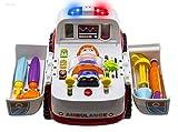 Ambulanza di soccorso veicolo Bump and Go con varie attrezzature mediche, luci musica e suoni mediche da Wishtime giocattolo