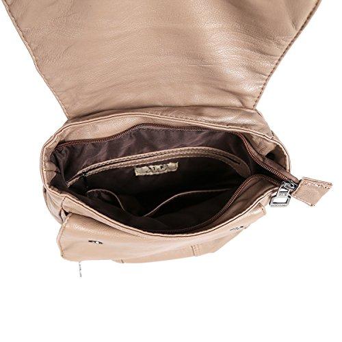 21KBARCELONA Cuoio lavato di alta qualità zaino borsa K15311 Marrone