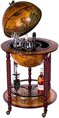 Mueble bar 45043, con patas de madera maciza de eucalipto, de color marrón rojizo envejecido, abierto 120 cm de altura y 61 cm de ancho, móvil con ruedas, diseño de bola del mundo antigua