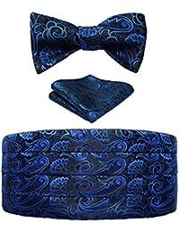 Hisdern Hombres Formal Cummerbund & Corbata de mono & Panuelo de bolsillo Set-Various Colores y patrones