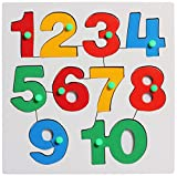 #9: FunBlast™ Wooden Learning Letters/ Numbers Board, Wooden Wooden Numbers (123) with Knobs Colorful Tray for Kids, Multicolor