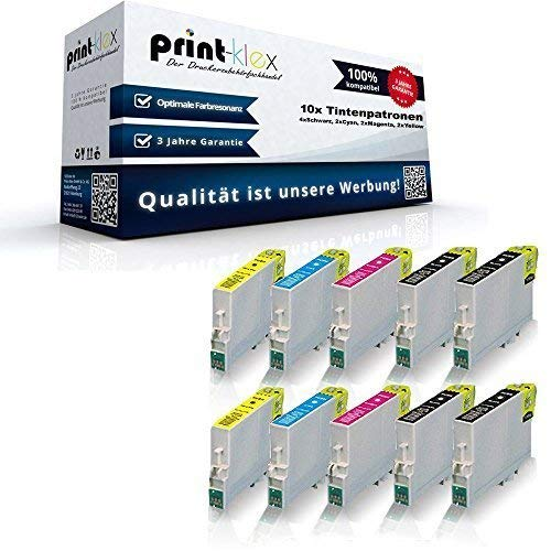 10x Kompatible Tintenpatronen für Epson Stylus C64 C64 Photo Edition C65 C66 C66 Photo Edition C84 C84 CN C84N C84 PE C84 Photo Edition - Sparset (4x Black, 2x Cyan, 2x Magenta, 2x Yellow) -