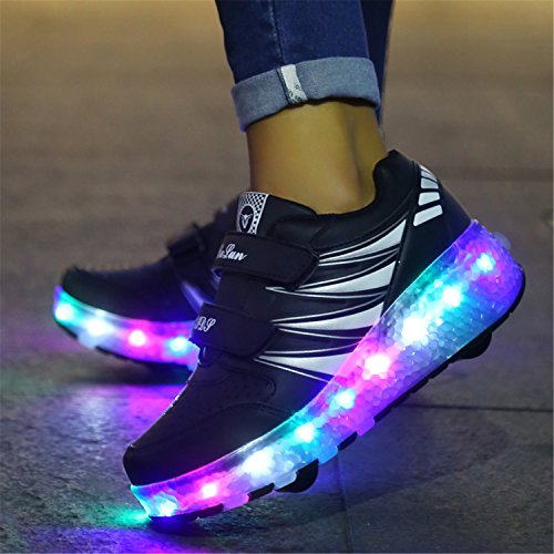 SGoodshoes Unisexe Enfants Fille Garçon LED Chaussures à roulettes Patins Sneakers Clignotant Sport Chaussures Patins Baskets Sneakers Noir deux roues