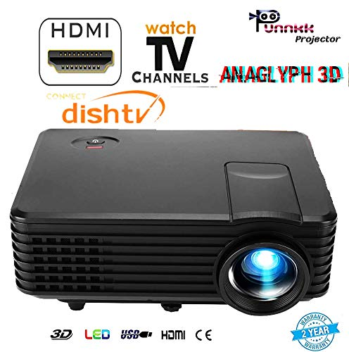 PUNNKK HD (1080p) 800 Lumen (HDMI/USB/VGA/AV/) 80 Inch P5 White and Black Multyscreen Projector