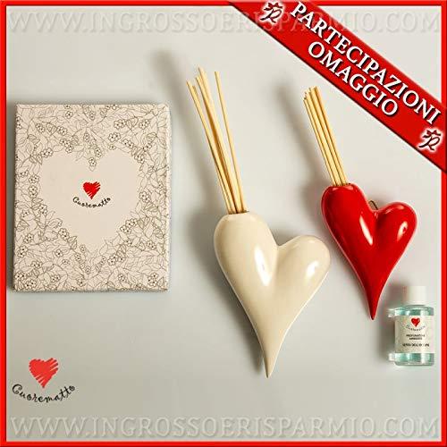 Cuorematto - set vaso e profumatore da appendere a forma di cuore in porcellana bianca e rossa, bomboniere matrimonio particolari, originali, con scatola regalo inclusa (con confezione rosa)