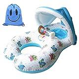 Inflable Anillo de Natación para Madre y Bebé con Sombrilla Desprendible, Flotador Hinchable de Piscina para Niño con Asiento, Inflable Juguetes 0-3 años (Blanco)