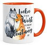 MoonWorks® Tasse Liebe ist nur ein Wort Fuchs Geschenk Liebe Spruch Tasse Liebessprüche Kaffee-Tasse für Verliebte orange unisize