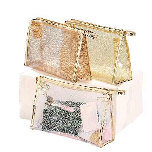 Damen wasserdichte transparente Kosmetiktasche, Shiny Gold Mesh, tragbare Waschbeutel, leicht und bequem, dreiteilig - Gold-mesh-kupplung