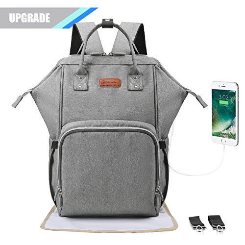 Baby Changing Backpack [UPGRADED VERSION], Wide Open Large Baby Diaper Bag Changing Rucksack for Mums and Dads, Pram Bag with USB Port, Stroller Straps and Changing Mat, Grey, Double Elite