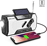 Emergency Weather Solar Crank AM/FM NOAA Radio with Portable 2000mAh Power Bank, Bright Flashlight and Reading Lamp for Household Emergency and Outdoor Survival(White)