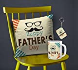 Happy Father's day Printed Gifts Combo Printed 12X12 Cushion with Filler & Best Quality Ceramic Mug Perfect Gifts for your Best Dad