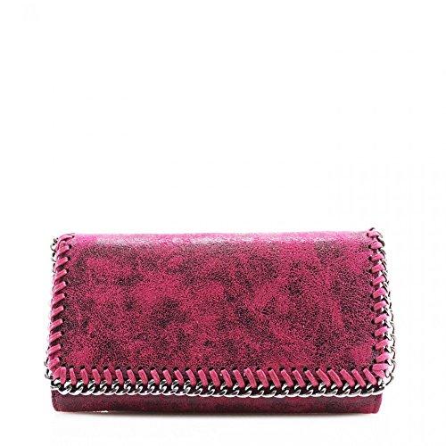 LeahWard® Damen Synthetik Leder Kette Klappe Geldbörsen Brieftasche Für Sie Zum Damen PLUM RED