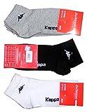 Kappa CONF. 6 PAIA CALZINO CORTO ALLA CAVIGLIA UNISEX - art. K004 in cotone. Disponibile nei colori Bianco, Nero, Blu e Grigio (39/41, nero)