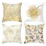 4Pcs Patrón de hojas amarillas doradas Funda de cojín de abrazo Fundas de cojín de sofá decorativo Funda de almohada minimalista de lino de algodón Funda de cojín cuadrado para sofá Sofá Cama y coche