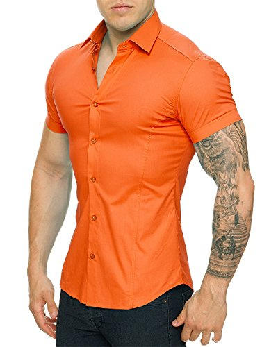 Redbridge By Cipo & Baxx Slim Fit Kurzarm Hemd Business Hochzeit Freizeit Orange
